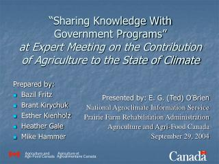 """Sharing Knowledge With Government Programs"" at Expert Meeting on the Contribution of Agriculture to the State of Clima"