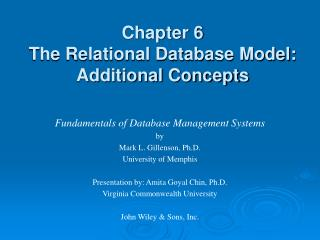 Chapter 6 The Relational Database Model: Additional Concepts