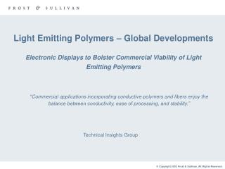 Light Emitting Polymers – Global Developments Electronic Displays to Bolster Commercial Viability of Light Emitting Pol