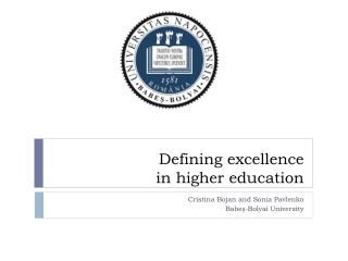 Defining excellence in higher education