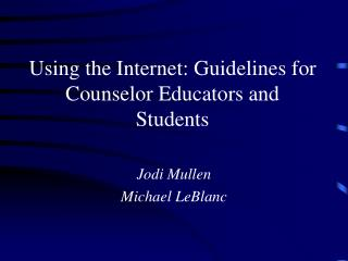 Using the Internet: Guidelines for Counselor Educators and Students