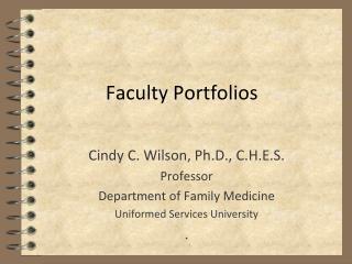 Faculty Portfolios