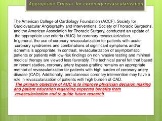 Appropriate  Criteria  for coronary revascularization