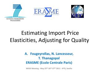 Estimating Import Price Elasticities, Adjusting for Quality
