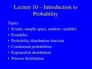 Lecture 10 – Introduction to Probability