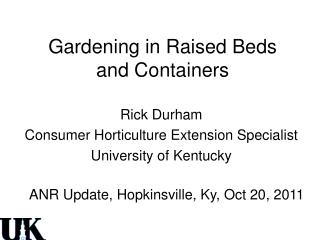Gardening in Raised Beds and Containers