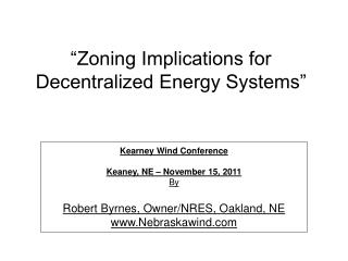 """Zoning Implications for Decentralized Energy Systems"""