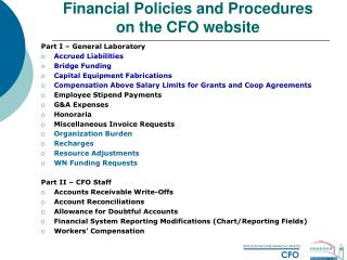 Financial Policies and Procedures on the CFO website