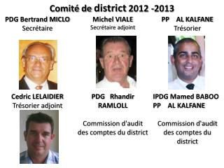 Comit� de  district  2012 -2013