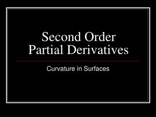 Second Order Partial Derivatives