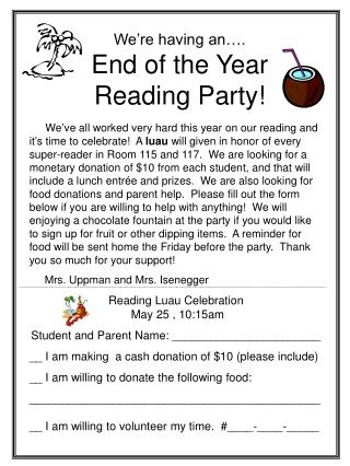 We're having an…. End of the Year  Reading Party!