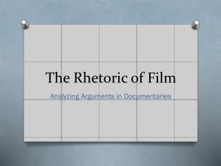 The Rhetoric of Film
