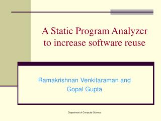 A Static Program Analyzer to increase software reuse