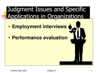 Judgment Issues and Specific Applications in Organizations