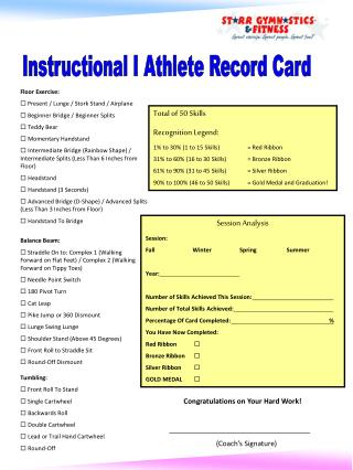 Instructional I Athlete Record Card