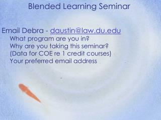Blended Learning Seminar