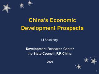 China's Economic Development Prospects