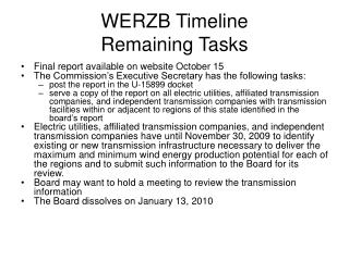 WERZB Timeline Remaining Tasks