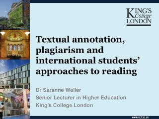 Textual annotation, plagiarism and international students' approaches to reading