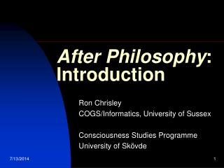 After Philosophy : Introduction