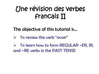 Une révision des verbes francais II