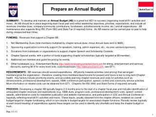 Prepare an Annual Budget