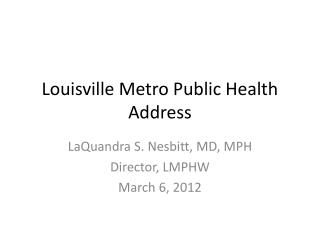 Louisville Metro Public Health Address
