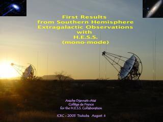 First Results  from Southern Hemisphere  Extragalactic Observations  with  H.E.S.S. (mono-mode)
