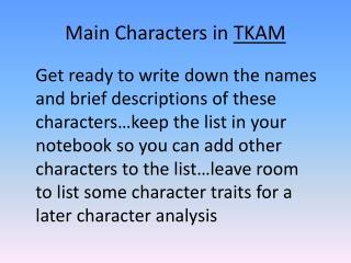 Main Characters in  TKAM