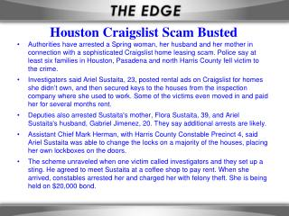Houston Craigslist Scam Busted
