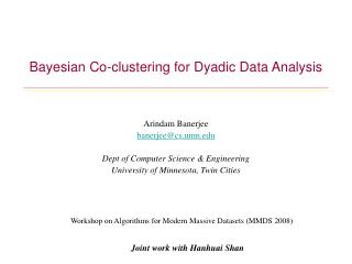 Bayesian Co-clustering for Dyadic Data Analysis