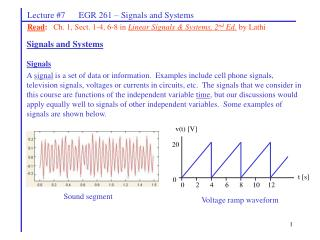 Lecture #7      EGR 261 – Signals and Systems