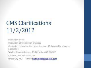 CMS Clarifications 11/2/2012