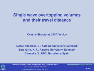 Single wave overtopping volumes  and their travel distance