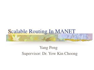 Scalable Routing In MANET