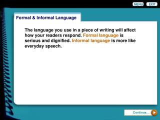 Formal & Informal Language