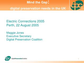 Electric Connections 2005 Perth, 22 August 2005 Maggie Jones Executive Secretary Digital Preservation Coalition