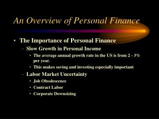 An Overview of Personal Finance