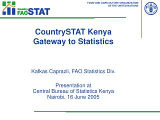 CountrySTAT Kenya Gateway to Statistics