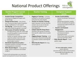 National Product Offerings