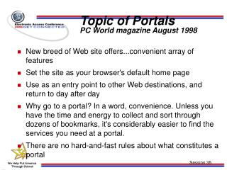 Topic of Portals PC World magazine August 1998