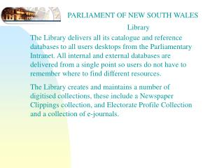 PARLIAMENT OF NEW SOUTH WALES                                 Library