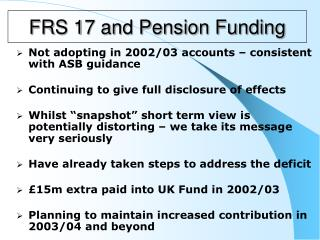 FRS 17 and Pension Funding