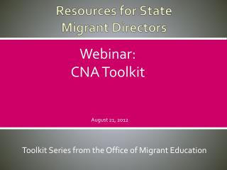 Resources for State  Migrant Directors