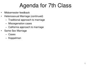 Agenda for 7th Class