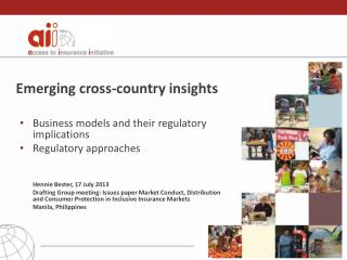 Emerging cross-country insights