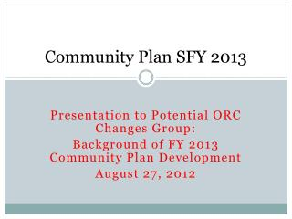 Community Plan SFY 2013