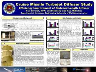 Cruise Missile Turbojet Diffuser Study Efficiency Improvement of Reduced Length Diffuser R.A. Swoish, M.W. Vostrizansky