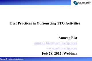 Best Practices in Outsourcing TTO Activities