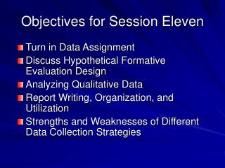 Objectives for Session Eleven